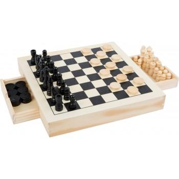 Set gioco degli scacchi dama e mulino, in legno con cassettini sotto il tavolo di gioco per riporre le varie pedine, dimensione
