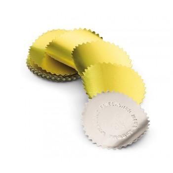Etichetta adesiva coccarde per timbri a secco, diametro mm 50