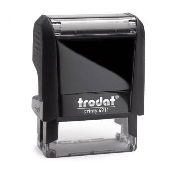 Timbro Trodat Printy 4911 mm. 38X14, completo di gomma personalizzata a 3 righe e cartuccia inchiostro nero