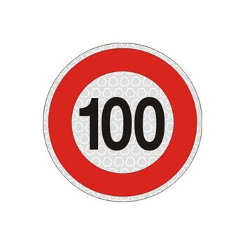 Segnale velocità 100 km/h per veicoli omologato, adesivo catarifrangente classe 2 diametro cm. 20