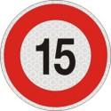 Segnale velocità 15 km/h per veicoli omologato, adesivo catarifrangente classe 2 diametro cm. 20