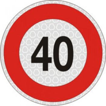Segnale velocità 40 km/h per veicoli omologato, adesivo catarifrangente classe 2 diametro cm. 20