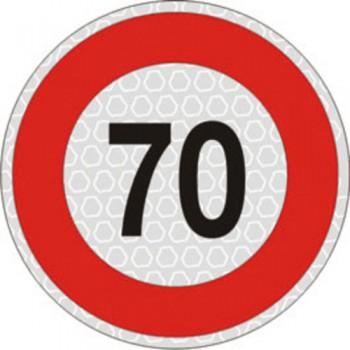 Segnale velocità 70 km/h per veicoli omologato, adesivo catarifrangente classe 2 diametro cm. 20