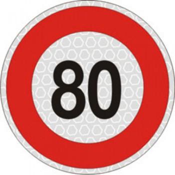 Segnale velocità 80 km/h per veicoli omologato, adesivo catarifrangente classe 2 diametro cm. 20