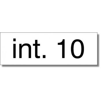 Numero interno aree pertinenziali chiuse, in alluminio composito sp. 2 mm., fondo bianco dimensione circa 10x5