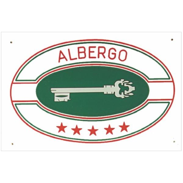 Targa di categoria Albergo in acrilico completa di personalizzazione fondo bianco misura mm 300x200x4