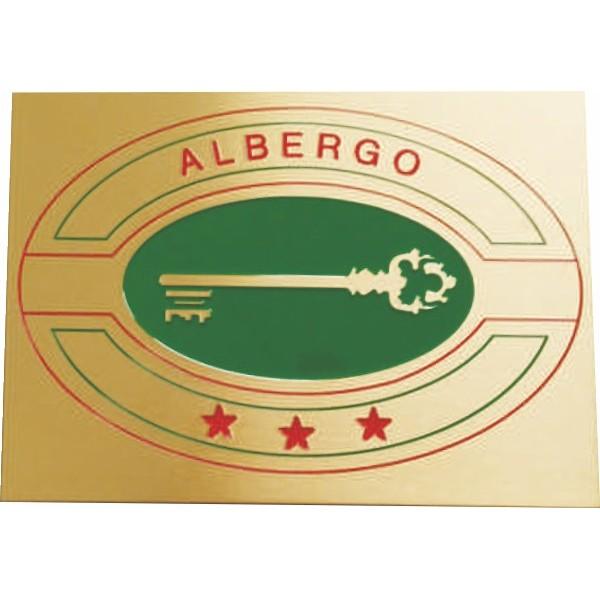 Targa di categoria Albergo in ottone satinato completa di incisione misura mm 170x120x3