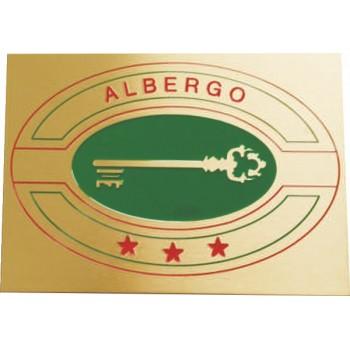 Targa di categoria Albergo in ottone satinato completa di incisione misura mm 300x200x3