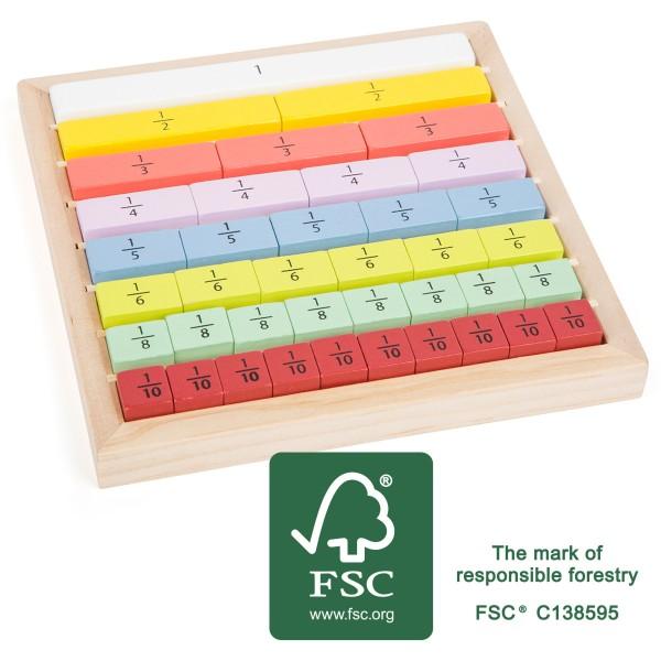 Gioco calcolo delle frazioni, in legno FSC 39 pezzi