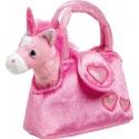 Peluche unicorno rosa nella borsa