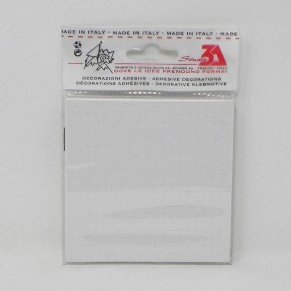 400 spessori adesivi morbidi misura mm 5x5x3, piastra pretagliata da cm. 10x10 imbustata