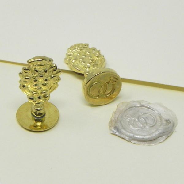 Sigillo per ceralacca Fedi nuziali con diamante, diametro mm 18
