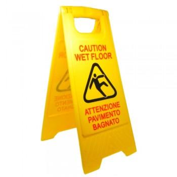 Cartello pavimento bagnato a cavalletto, in plastica dura misura cm. 30x30x62 e stampa a colori pittogramma + scritta