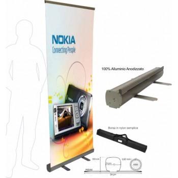 Roll-up premium 85x200 con avvolgitore automatico e chiusure laterali in alluminio anodizzato.