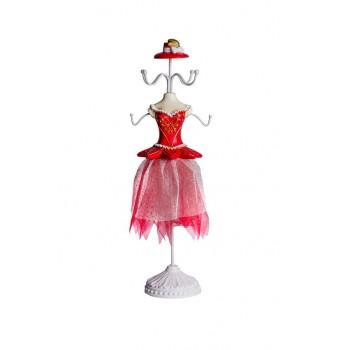 Manichino portagioie per collane rosso con cappello