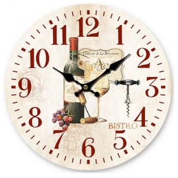Orologio tondo da muro Bistro Vino, misura diametro cm. 34