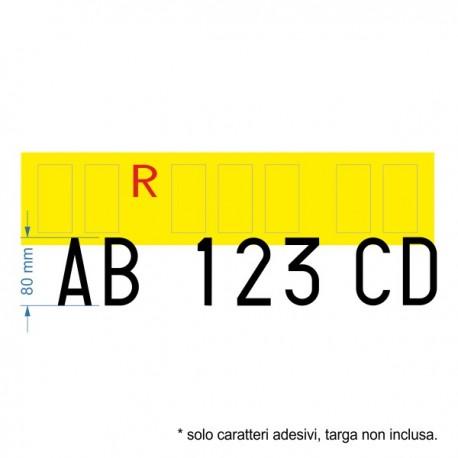 Set di 7 caratteri adesivi per targa ripetitrice, per rimorchio normale (non agricolo), altezza dei caratteri 80 mm.
