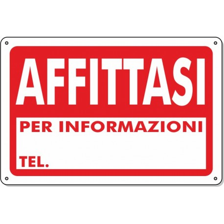 """Cartello Pvc """"Affittasi"""" - 20x30 - 1 Cartello"""