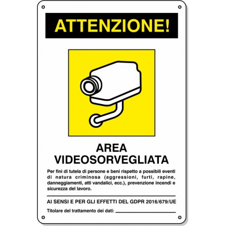 "Cartello Pvc ""Area Videos. comp."" - 20x30 - 1 Cartello"