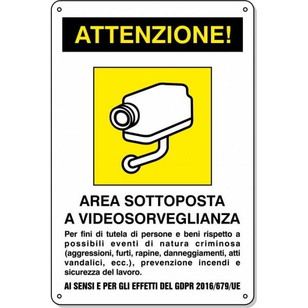 """Cartello Pvc """"Area Videosorvegliata"""" - 20x30 - 1 Cartello"""