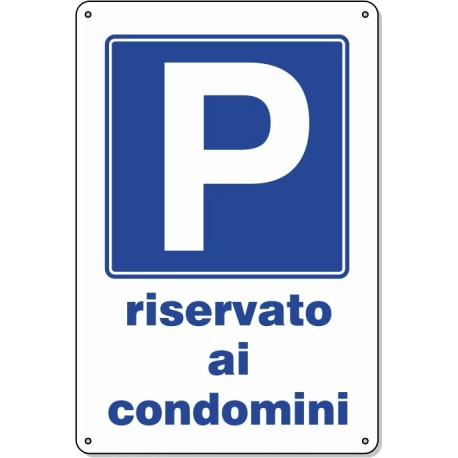 """Cartello Pvc """"Riservato Ai Condomini"""" - 20x30 - 1 Cartello"""