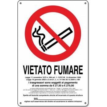 """Cartello Pvc """"Vietato Fumare"""" - 20x30 - 1 Cartello"""