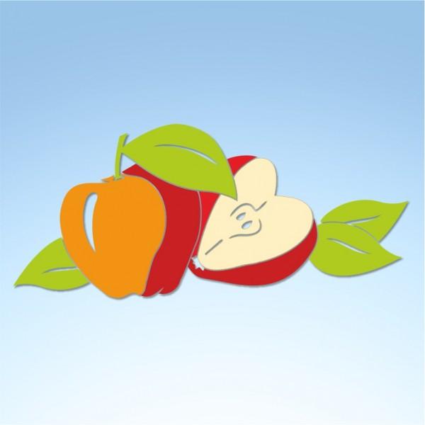 Vetrofania autunno composizione mele, misura circa cm. 80×50