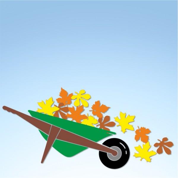 Vetrofania autunno carriola con foglie, misura circa cm. 100x50