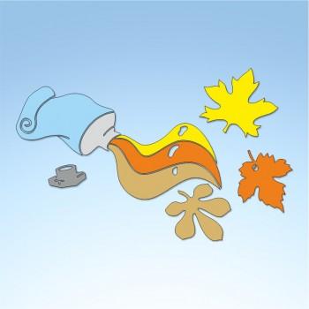 Vetrofania autunno colori d'autunno, misura circa cm. 80x55