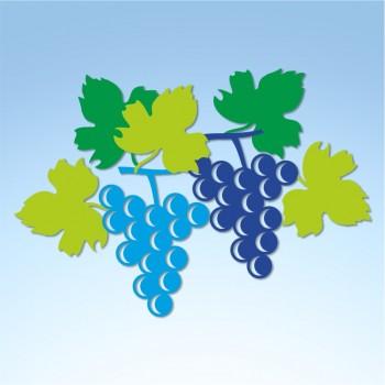Vetrofania autunno uva grappoli e foglie, misura circa cm. 70x55