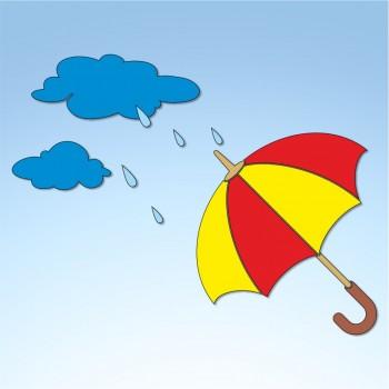 Vetrofania ombrello con pioggia, misura circa cm. 90x70