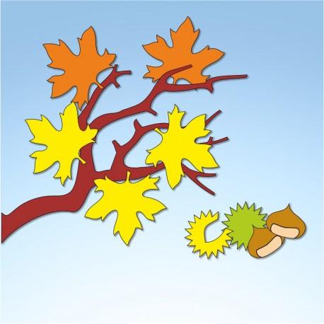 Vetrofania ramo autunnale, misura circa cm. 80x70
