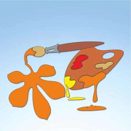 Vetrofania tavolozza d'autunno, misura circa cm. 75x55