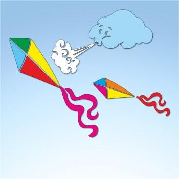 Vetrofania estate aquiloni nuvoletta e vento, misura circa cm. 90x90