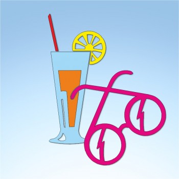 Vetrofania estate cocktail e occhiali, misura circa cm. 60x85
