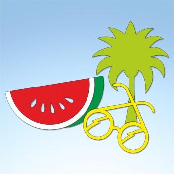 Vetrofania estate palma, cocomero e occhiali, misura circa cm. 90x70