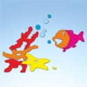 Vetrofania estate pesce e corallo, misura circa cm. 100x80