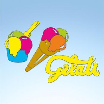 Vetrofania estate scritta gelati e gelati, misura circa cm. 90x70