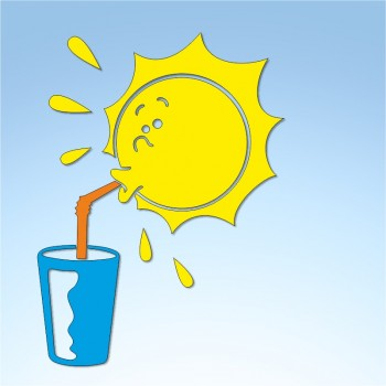 Vetrofania estate sole assetato, misura circa cm. 55x80