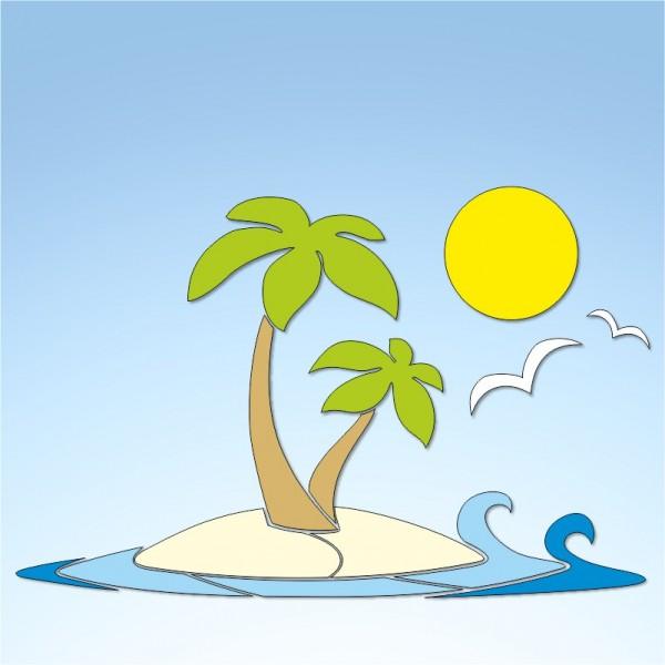 Vetrofania estate spiaggia assolata, misura circa cm. 80x60