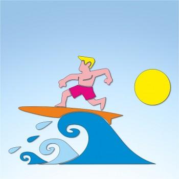 Vetrofania estate surfer, misura circa cm. 80x65