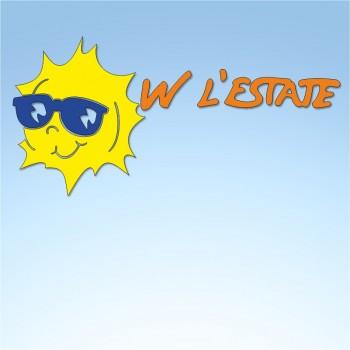 Vetrofania estate W l'estate, misura circa cm. 80x40