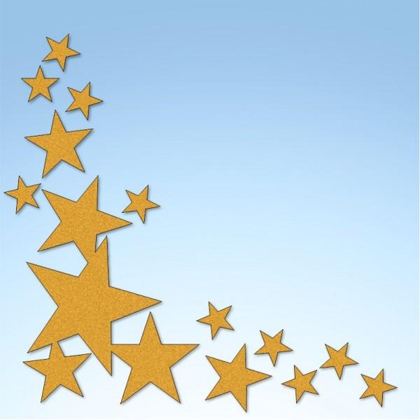 Vetrofania angolo stelle, misura circa cm. 110x110