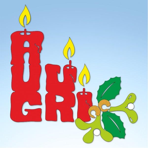 Vetrofania auguri a candela con vischio, misura circa cm. 70x80