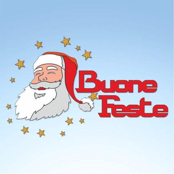Vetrofania Babbo Natale con buone feste, misura circa cm. 95x65