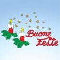 Vetrofania candele agrifoglio e buone feste, misura circa cm. 90x55