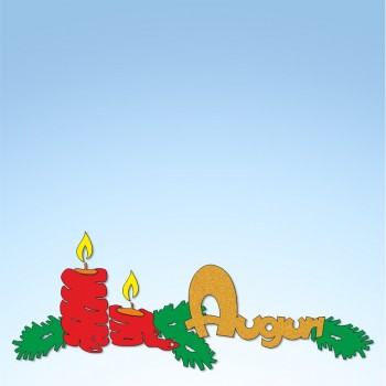 Vetrofania candele con rami e auguri, misura circa cm. 100x40