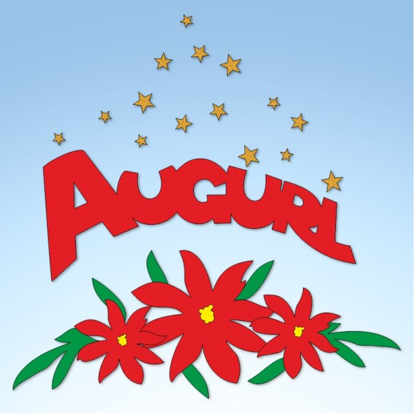 Vetrofania stelle di Natale con auguri, misura circa cm. 65x80
