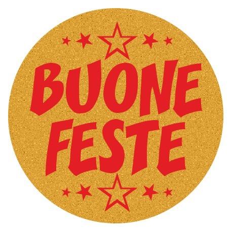 200 etichette Buone feste tondo, mm.36x36 - ORO