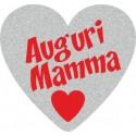 200 etichette ca. Auguri Mamma cuore, mm.25x23 - ARGENTO